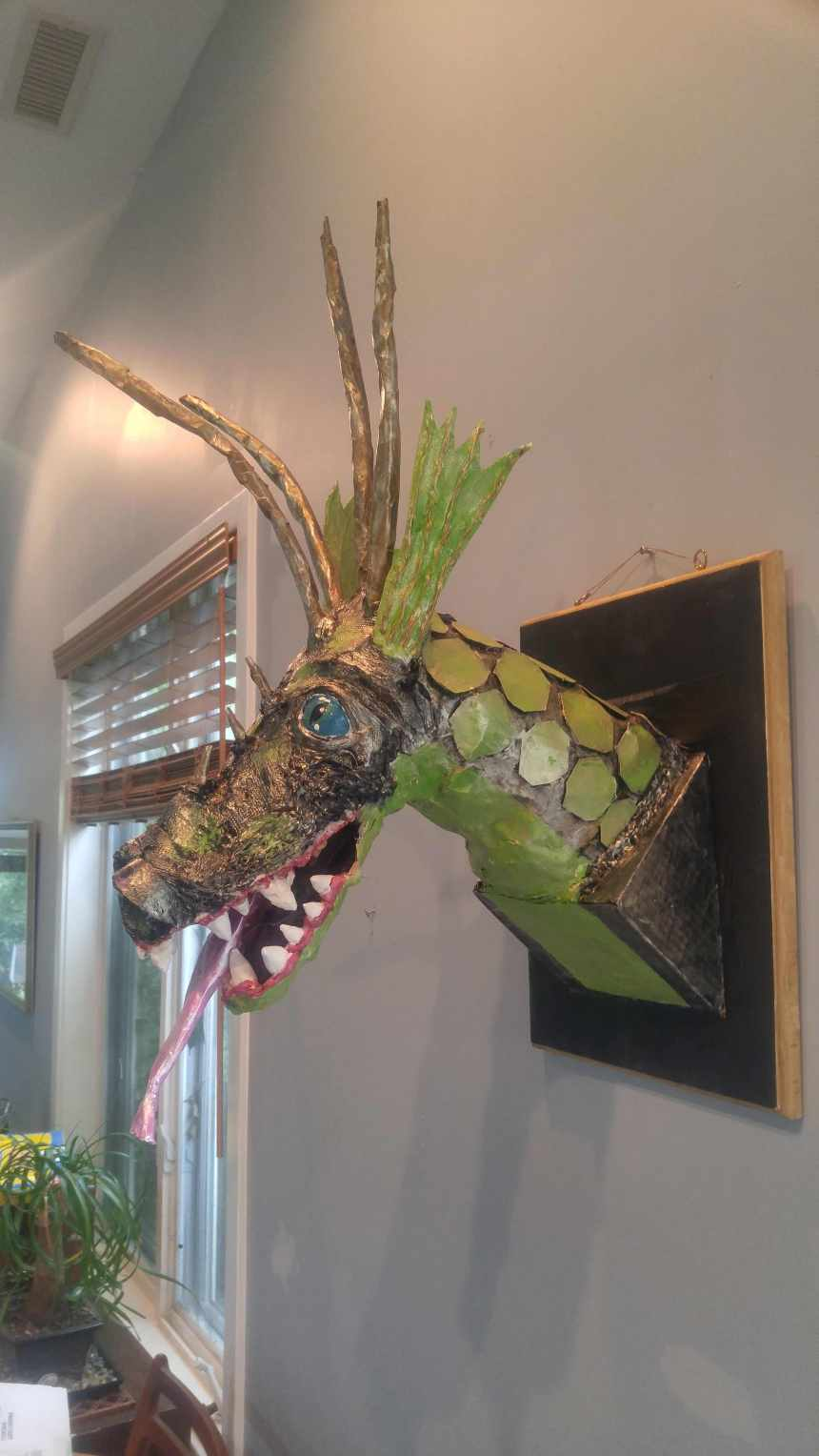 Nancy Schall's paper mache dragon
