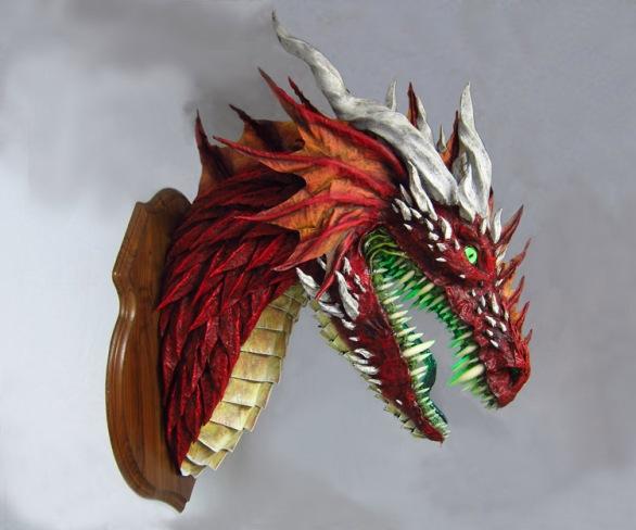 red paper mache dragon