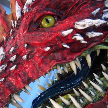red paper mache dragon 4