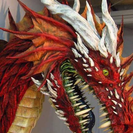 red paper mache dragon  3