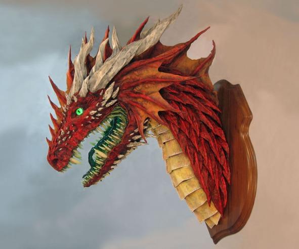 red paper mache dragon 2