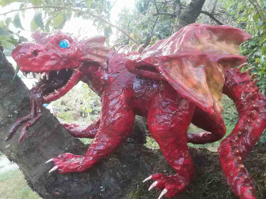Hannah Wilson's first paper mache dragon