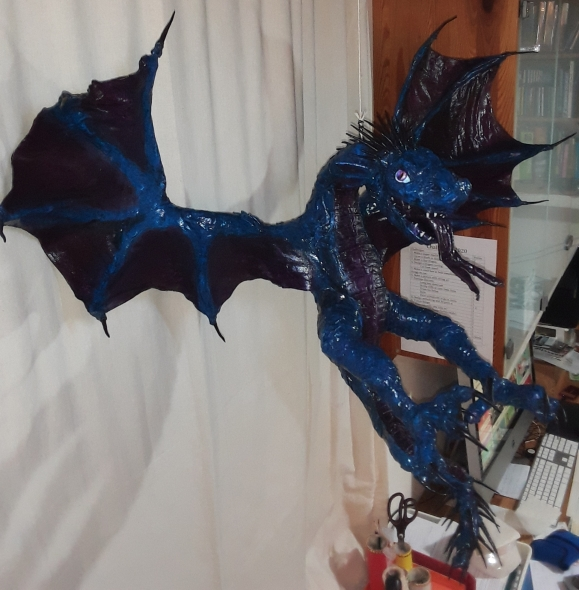 Hannah Wilson's new paper mache dragon