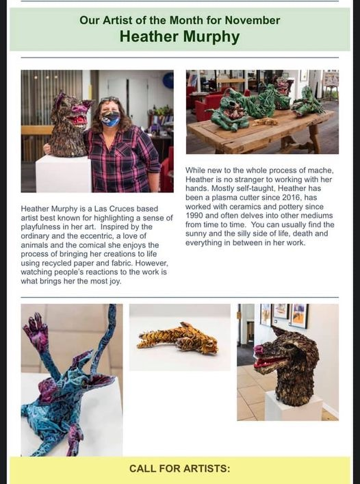 Heather Murphy and her paper mache projects